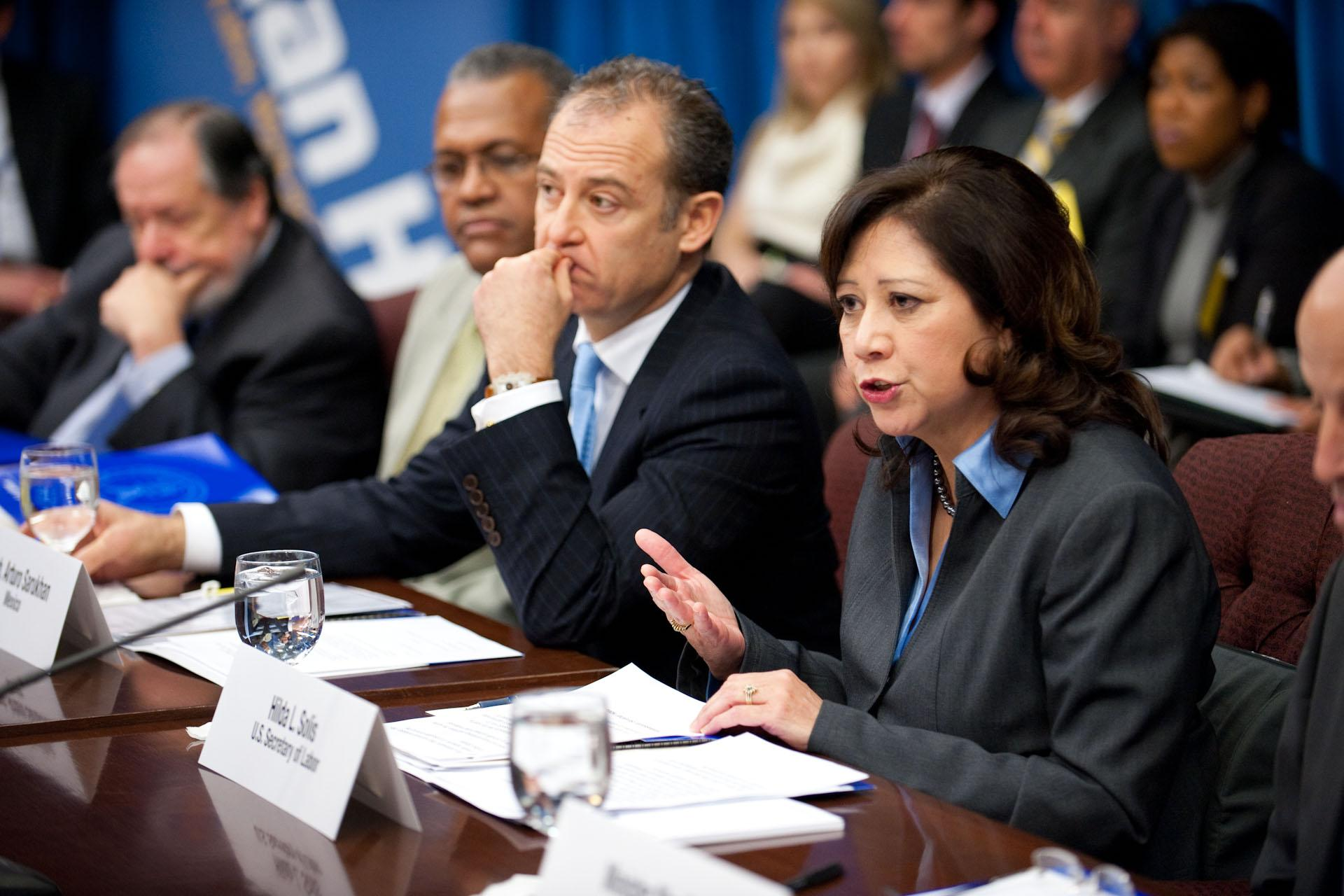 Pictured: U.S. Secretary of Labour Hilda Solis and Mexican Ambassador Arturo Sarukhan