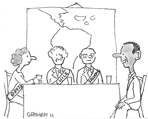 Cartoon of President Obama speaking to presidents of Brazil, Chile, and El Salvador.
