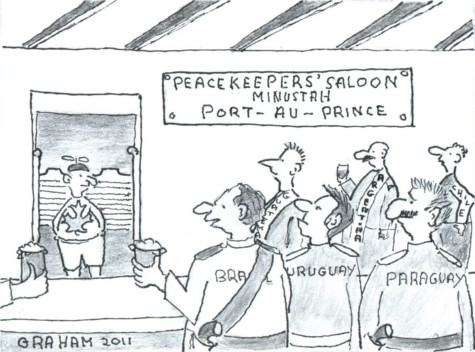 "Cartoon: Representatives from Brazil, Uruguay, Paraguay, Chile, Argentina, and Guatemala in the ""Peacekeepers' Saloon"" in Port-au-Prince look over to the naive-looking Canadian who has just entered the bar."