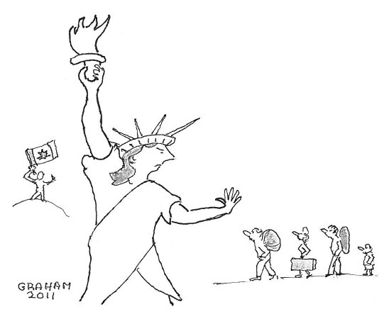 Drawing of enormous Statue of Liberty barring the way to people trying to get to Canada