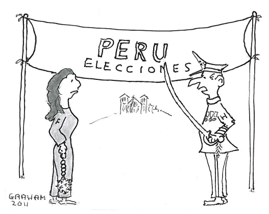 "Cartoon depiction of Ollanta Humala dressed as military general speaking to Keiko Fujimori dressed as a prisoner with ""Peru elections"" banner hung as a finish line."
