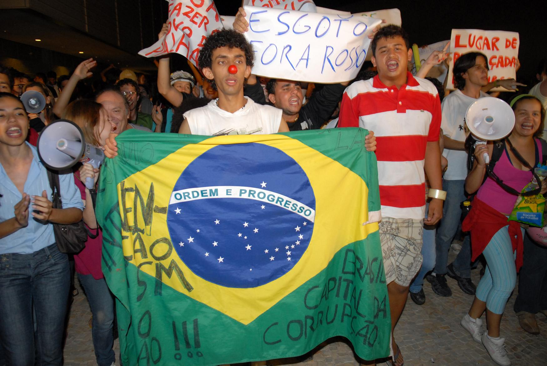 Students at an anti-corruption rally in Brasília, April 22, 2010.